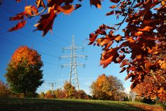 High-voltage pylon in fall Stock Image