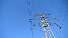 High Voltage Pylon with 6 Phases and One Ground Wire