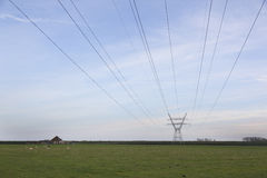 High voltage pylon in rural area north of amsterdam in holland Stock Photography