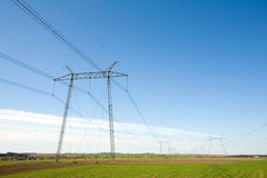 High voltage pylons Stock Photos