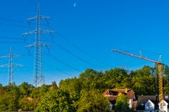 High-voltage pylons with power lines. Metal lattice stock photos