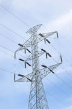 High voltage pylons and power lines to the power station. Stock Images