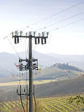 High voltage pylons  spoil   countryside landscape Stock Images