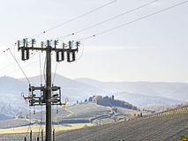 High voltage pylons  spoil   countryside landscape Stock Photos