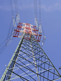 High voltage pylons view from above. Colored high voltage pylons view from above Royalty Free Stock Photo