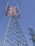High voltage pylons view from above. Colored high voltage pylons view from above Stock Image
