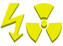 High voltage and radioactive sign. 3d render of high voltage and radioactive sign - vector illustration Royalty Free Stock Photo