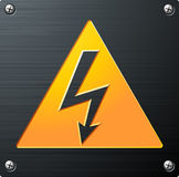 High Voltage Sign. A metal plaque with a lightning for high voltage Royalty Free Stock Photography