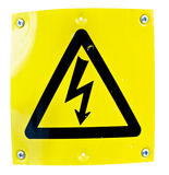 High Voltage Sign. A yellow high voltage sign isolated on white background Royalty Free Stock Images