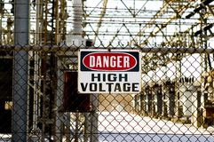 High voltage sign Stock Photos