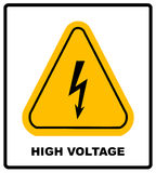 High Voltage Sign. Danger symbol. Black arrow isolated in yellow triangle on white background. Warning icon. Vector Royalty Free Stock Photo