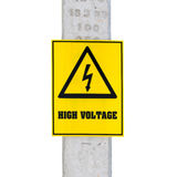High voltage sign on electric pole , on white Royalty Free Stock Photo
