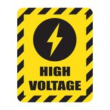 High voltage sign with electricity symbol. Vector illustration Stock Images
