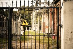 High voltage sign on the fence Royalty Free Stock Image