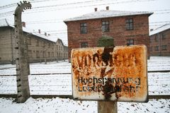 High voltage sign at a german WWII prisoner camp Stock Photos