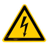 High Voltage Sign isolated on white Stock Photos