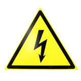 High voltage sign isolated on white royalty free stock image