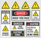 Danger signs, high voltage labels Royalty Free Stock Photography
