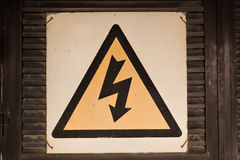 High voltage sign on the white background Royalty Free Stock Images