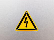 High voltage sing on metal background Royalty Free Stock Image