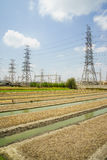 High Voltage Station and Vegetable garden Stock Photos
