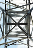 High-voltage steel tower - bottom view Stock Photos