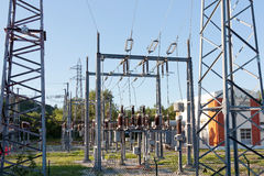 High Voltage Sub-Station Royalty Free Stock Photo