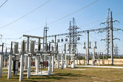 High-voltage substation Royalty Free Stock Image