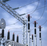 High-voltage substation. Electrical insulators detail Stock Image