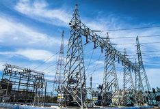 High voltage substation Royalty Free Stock Photos