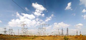 High voltage substation - autumn landscape royalty free stock photos