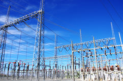 High-voltage substation, blue sky Royalty Free Stock Photo