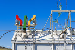 High-voltage substation equipment stock image