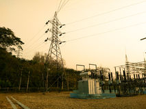 High voltage substation Stock Images
