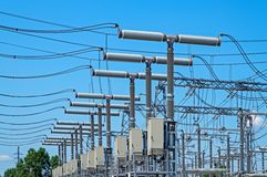 High voltage substation Royalty Free Stock Images