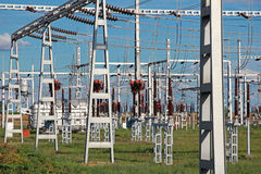 High-voltage substation power transformer Royalty Free Stock Image