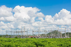 High Voltage Substation in the sky Royalty Free Stock Photography