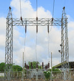 High voltage substation. With switches and disconnectors Stock Photography