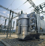 High-voltage supplay. High-voltage transformer power station royalty free stock photography