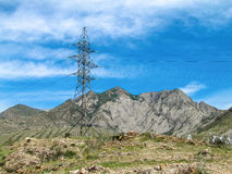 High voltage support in the mountains. The photo was taken in the journey to the Altai mountains Royalty Free Stock Images