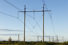 High voltage support. Support of high-voltage transmission line against the sky Stock Images