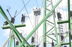 High voltage switchgear equipment with sky.  Stock Photos