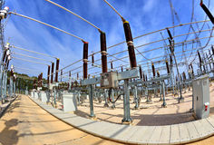 High voltage switchyard in fisheye perspective Stock Images