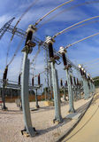 High voltage switchyard in fisheye perspective Royalty Free Stock Photography