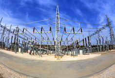 High voltage switchyard in fisheye perspective Stock Photography