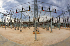 High voltage switchyard in fisheye perspective Royalty Free Stock Image