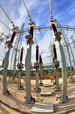 High voltage switchyard in fisheye perspective Stock Photo