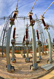High voltage switchyard in fisheye perspective Stock Photos