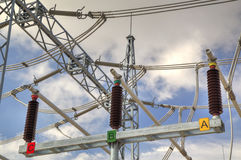 High voltage switchyard Royalty Free Stock Photo