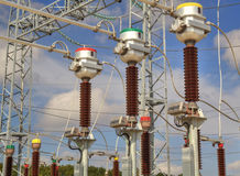 High voltage switchyard Royalty Free Stock Image